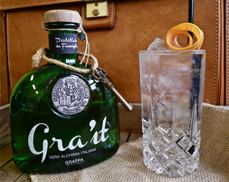 Gra'it and tonic cocktail gra'it grappa
